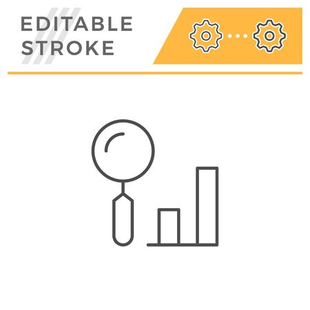 Data search editable stroke line icon Иллюстрация