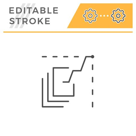 Data analytics editable stroke line icon Иллюстрация