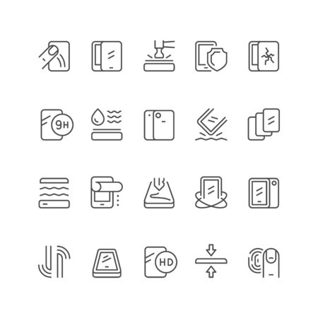 Smartphone protection line outline icon