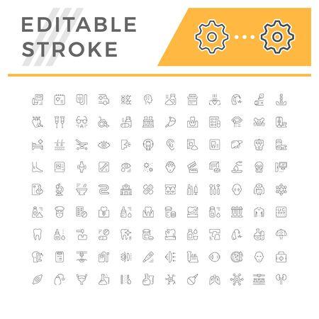 Set editable stroke line icons of medicine Vectores