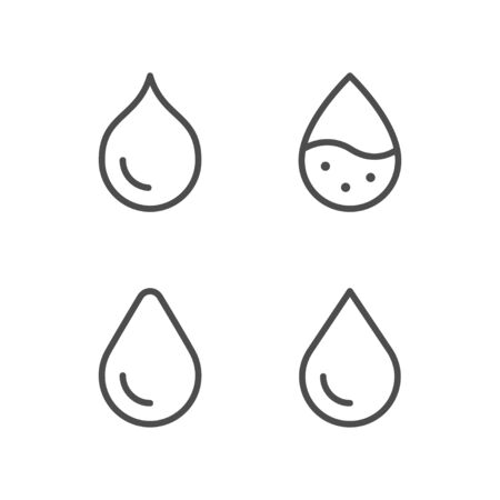 Water drop line outline icon isolated on white. Vector illustration Ilustração