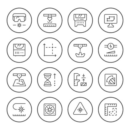 Set round line icons of laser cutting isolated on white. Vector illustration