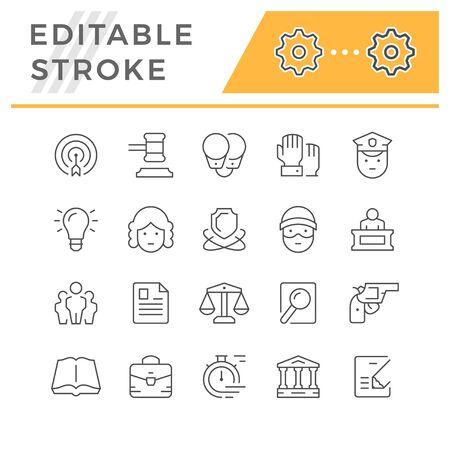 Set editable stroke line icons of law Illustration