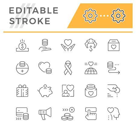 Set editable stroke line icons of charity Stock Illustratie