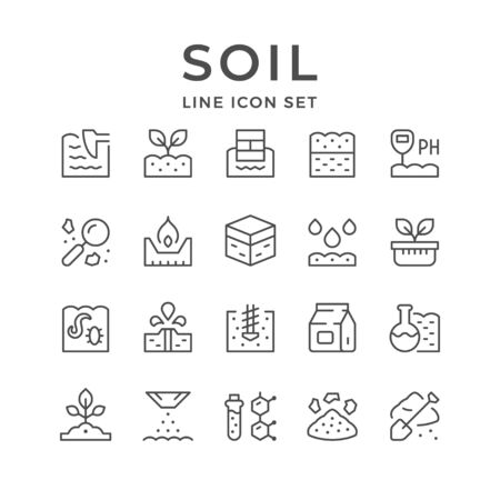Set line icons of soil isolated on white. Vector illustration