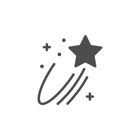 Flying star icon and magic concept