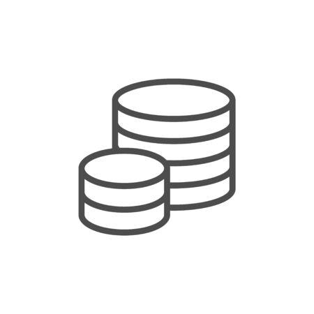 Coins line icon and money concept Stock Illustratie