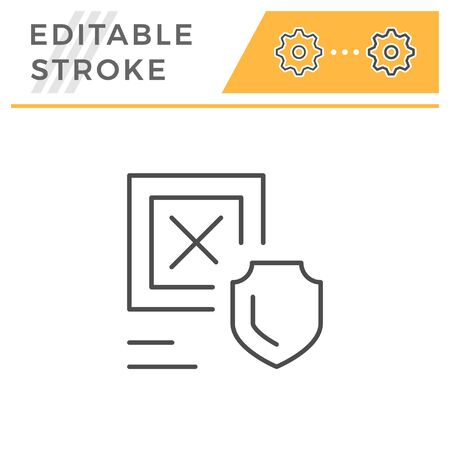 Cargo insurance editable stroke line icon isolated on white. Vector illustration