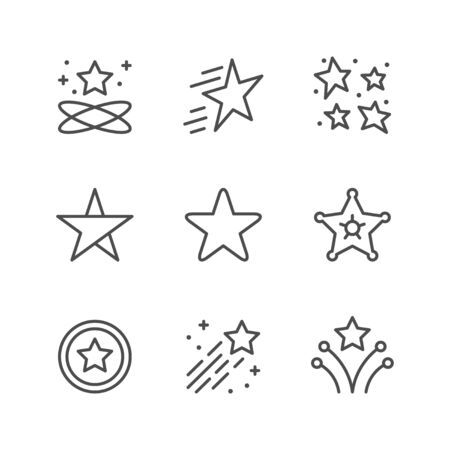 Set line icons of star Illustration