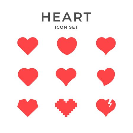 Set red icons of heart and love concept Stock Illustratie
