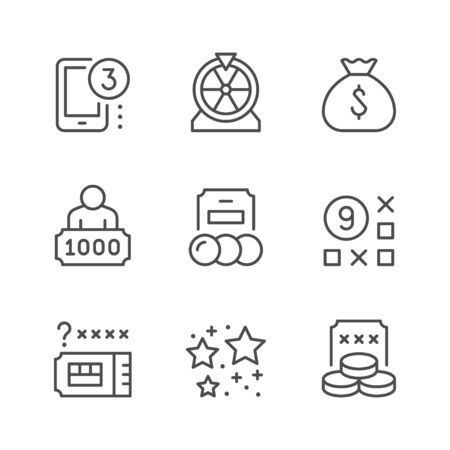 Set line icons of lottery