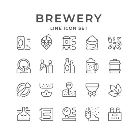 Set line icons of brewery isolated on white. Vector illustration Stock Illustratie