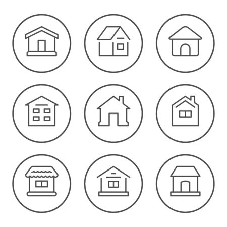 Set round line icons of house