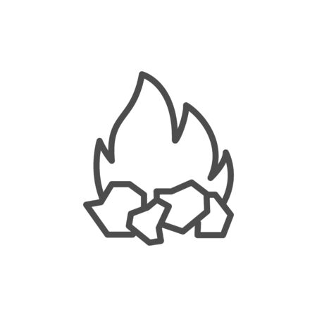 Charcoal and fire line outline icon Illustration