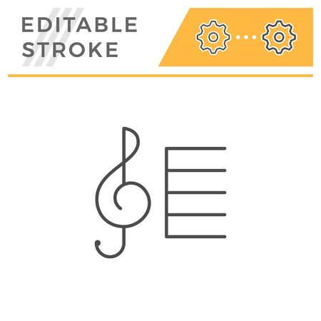 Treble clef editable stroke line icon
