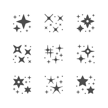 Set icons of sparkling and twinkling isolated on white. Vector illustration