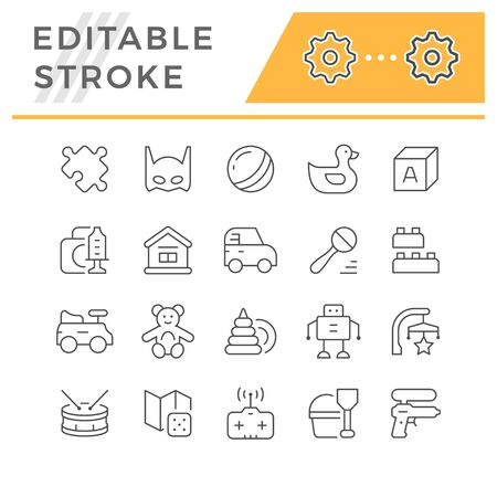 Set editable stroke line icons of toys