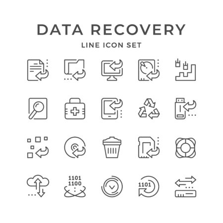Set line icons of data recovery Stock Illustratie