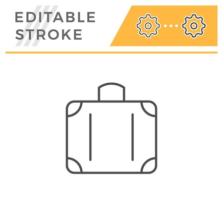 Suitcase editable stroke line icon isolated on white. Vector illustration