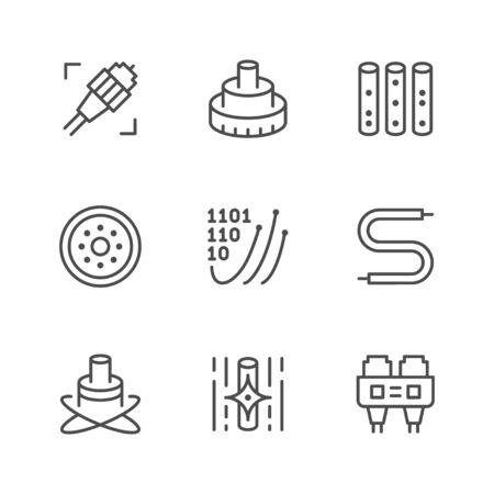 Set line icons of optical fiber