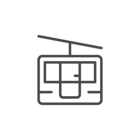 Funicular cableway line outline icon