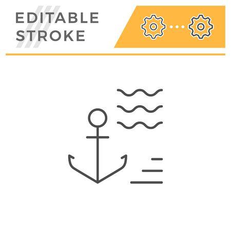 Anchor editable stroke line icon
