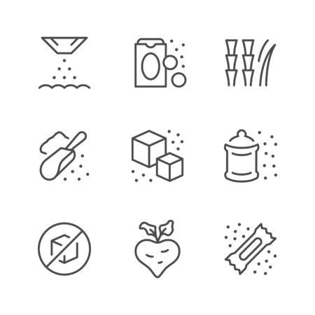 Set line icons of sugar Stock Illustratie