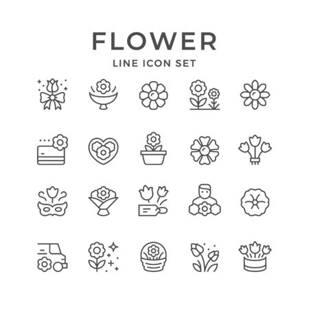Set line icons of flower