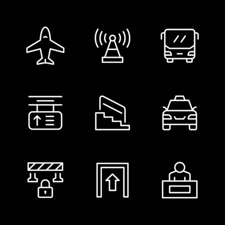 Set line icons of public navigation Ilustracja
