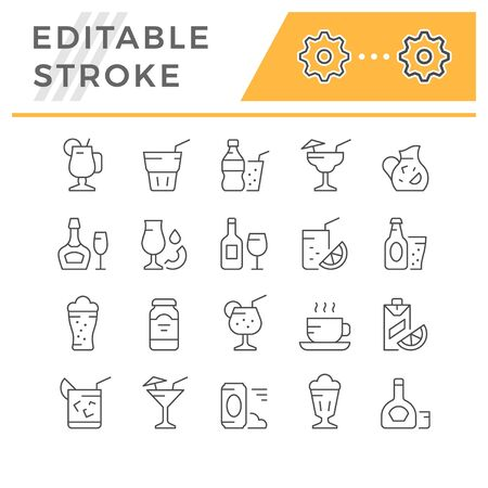 Set editable stroke line icons of drink