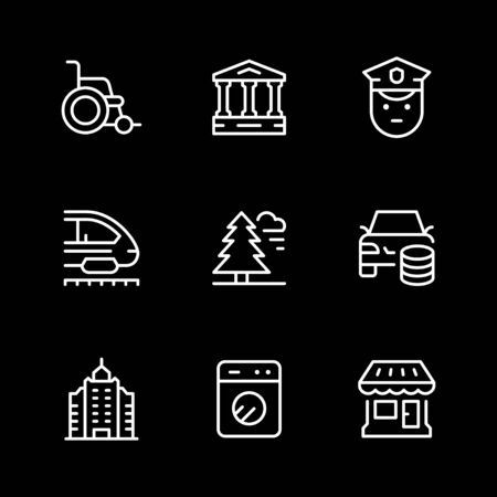 Set line icons of public navigation Stock Illustratie