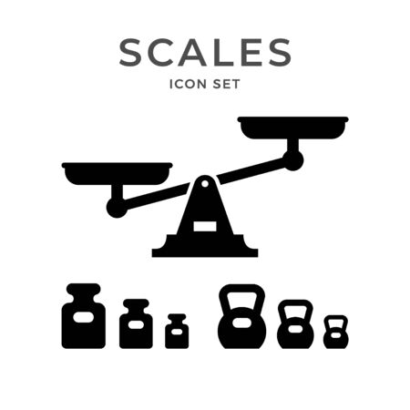 Set icons of scales and weights
