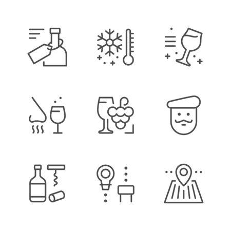 Set line icons of wine