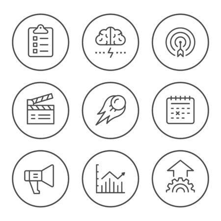 Set round line icons of start up