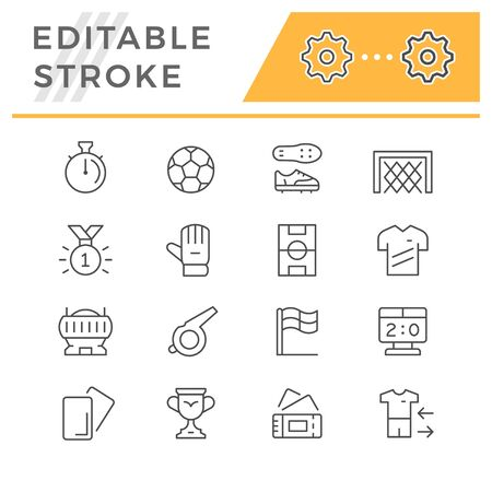 Set editable stroke line icons of soccer Stock Illustratie