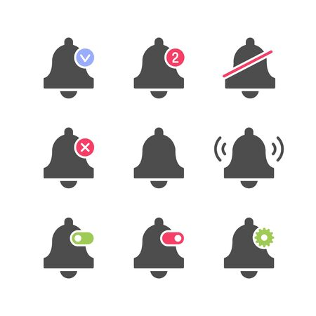 Set icons of bell and alarm concept