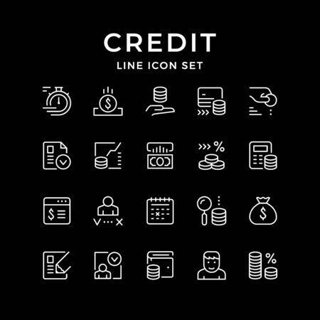 Set line icons of credit 일러스트