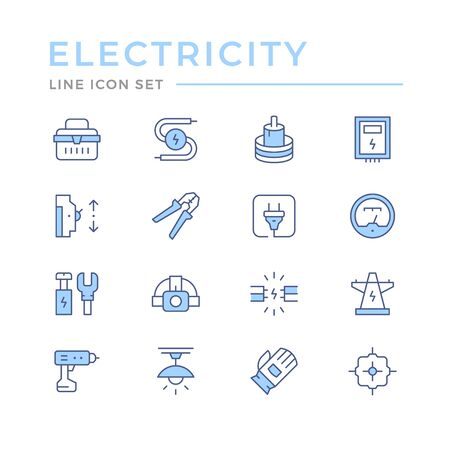 Set color line icons of electricity