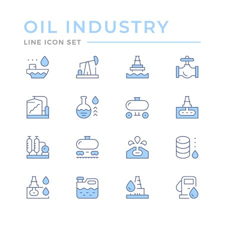 Set color line icons of oil industry Ilustracja