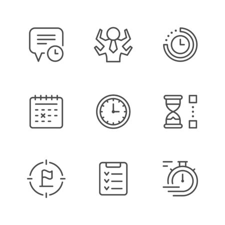 Set line icons of time management isolated on white. Contains such icons as watch, calendar, time period, reminder, target, hourglass, list, manager. Vector illustration