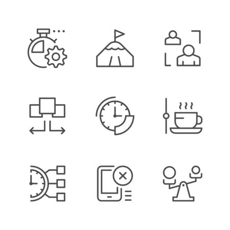 Set line icons of time management isolated on white. Contains such icons as watch, coffee break, time period, aim, delegation, scales, division, priority. Vector illustration