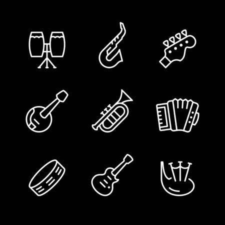 Set line icons of music instruments