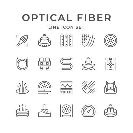 Set line icons of optical fiber
