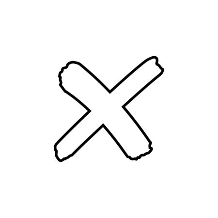 Cross outline sign or x mark icon. No symbol