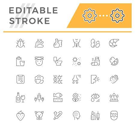 Set editable stroke line icons of allergy Stock Illustratie