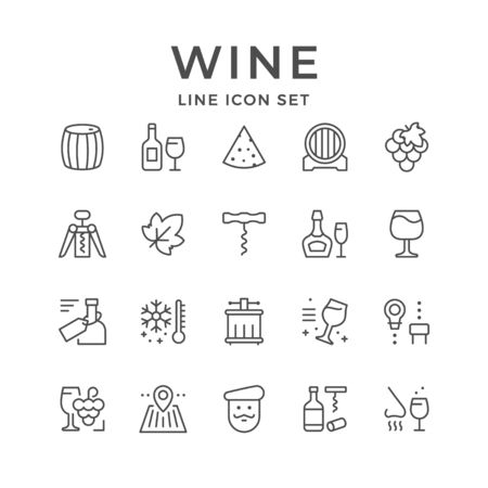 Set line icons of wine isolated on white. Vector illustration Illustration