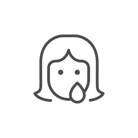 Woman abuse and discrimination line outline icon