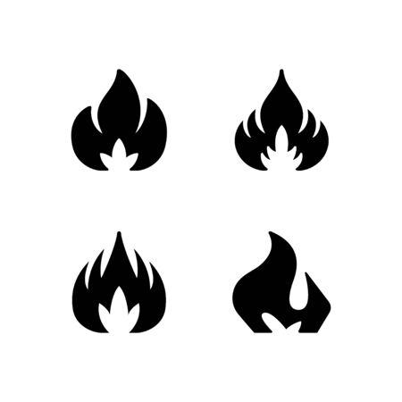 Set glyph icons of fire or flame isolated on white. Blaze symbol, hot concept, bonfire silhouette. Vector illustration Illusztráció