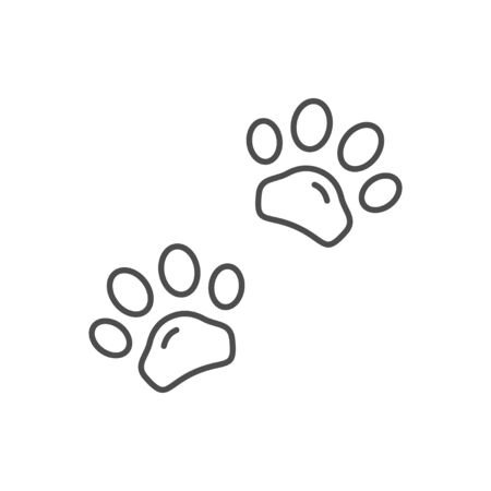 Animal paws line outline icon isolated on white. Vector illustration  イラスト・ベクター素材