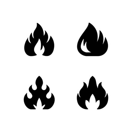 Set glyph icons of fire or flame isolated on white. Blaze symbol, hot concept, bonfire silhouette. Vector illustration Illustration